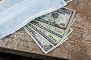 surgical mask with paper american money